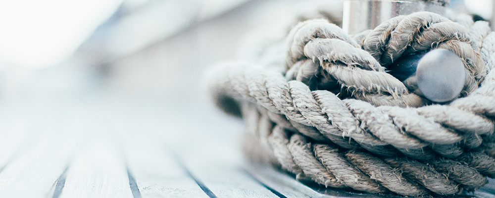 View of a rope on a sailing deck